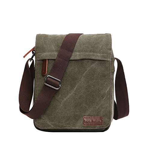 Canvas Grün Bag Messenger (Super Modern Leinwand Messenger Bag Umhängetasche Laptop Tasche Computer Tasche Umhängetasche aus Segeltuch Tasche Arbeiten Tasche Umhängetasche für Männer und Frauen, Herren, Green Small)