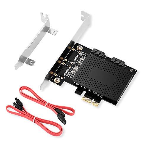 ELUTENG SATA PCIE Karte 2 Port, PCIE 2.0 zu SATA 3.0 Adapter(1X 4X 8X 16X) 6 Gbit/s PCIE SATA Controller Erweiterungskarte mit 2 SATA Kabel für Windows XP/2003/Vista/7/8/10 usw.