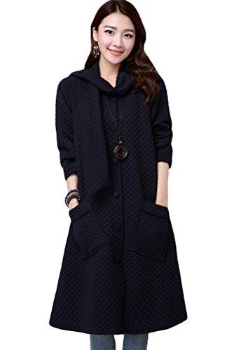 MatchLife Damen Button Down Cardigans Langarm Mantel Style1-Dunkelblau