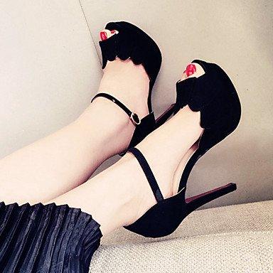 Moda Donna Sandali Sexy donna tacchi Primavera / Estate / Autunno cinturino alla caviglia Suede Party & Sera Stiletto Heel altri nero / rosso altri Black