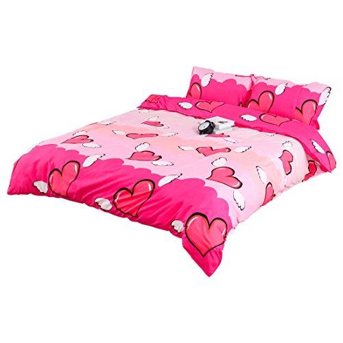 Sourcingmap® set di biancheria da letto re regina intere copripiumino letto con federa biancheria da letto - angelo cuori, king