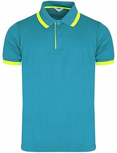 Bcpolo Herren Pique Polo Shirts Kurzarm Fluorescent-Punkt-Polo-Hemd Aqua
