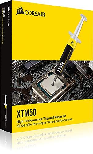 Corsair XTM50, CPU/GPU-Wärmeleitpaste (leistungsstark, hohe Wärmeleitfähigkeit, niedrigere CPU-Temperaturen, hochwertige Zinkoxid-Basis, enthält Schablone und Applikator) 5 g