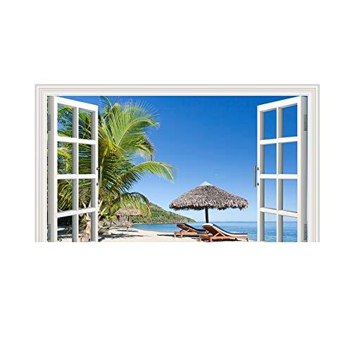 Yallylunn Scenery Outside The Window Wall Decal Home Sticker Mural Home Decor Decal Es Kann Auf Glatte OberfläChen Wie WäNde Spiegel Und Fenster Geklebt Werden