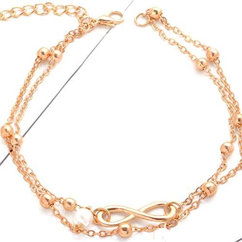 CAOLATOR Infinity Fußkettchen Damen Strand Fußkette Unendlichkeit Verstellbar Perlen Knöchel Armband Multi Layer Mädchen Glitzer Knöchelkette Frau Legierung FußSchmuck (Gold)