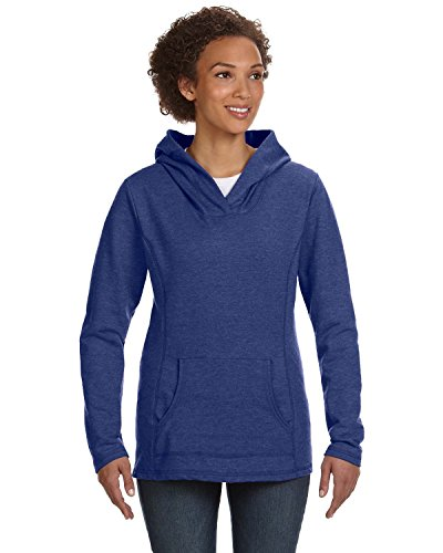 Anvil Ringspun French Terry Crossneck Hooded Sweatshirt (72500L) -Heather BL -XL Hooded Terry Pullover