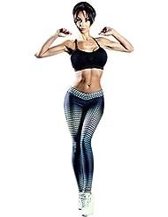 HARRYSTORE Mujer pantalones deportivos y elástico de yoga con impresión Fitness Leggings polainas