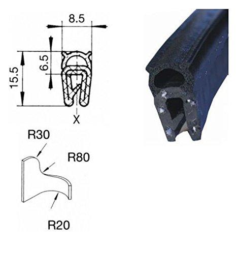 EUTRAS Dichtungsprofil KSD2003 Türgummi Kofferraumdichtung  – Klemmbereich 0,8 – 2,5 mm - schwarz - 3 m