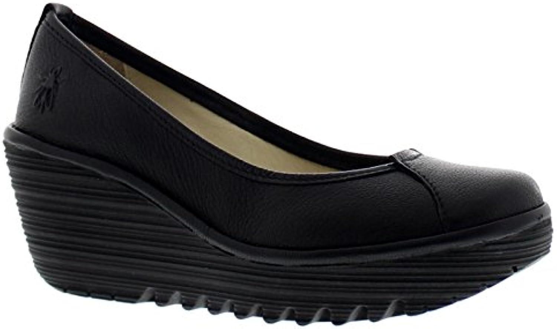 Fly London Womens Yerb 775 Black Leather Shoes 38 EU