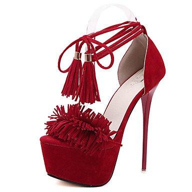 LvYuan Da donna-Sandali-Formale-Altro-A stiletto-Felpato-Nero Rosso Black
