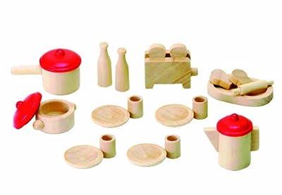 Beeboo 31520 - Juego de vajilla de madera para casa de muñecas (23 piezas) de beeboo