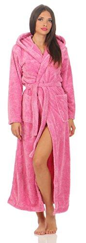 Damen Kuschel-Bademantel mit Kapuze, Wellsoft, extra lang oder kurz in 6 Farben Grösse M in lang, 140 cm, Farbe pink