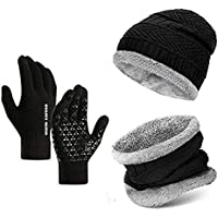 Lyonardo Winter Thick Fleece Lined Beanie Woolen Cap Hat, Neck Scarf and Touchscreen Gloves Set Cap for Men Women(3 Set)