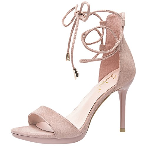 Pink Open Toe Up Lace Oasap Fashion Sandals Heels Ankle Women's High g1F4vq