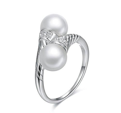 Anello per Donne, Anelli in argento sterling S925 Zircone per le donne, Anelli Hypoallergenic Perla