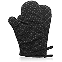 Premium Anti-Rutsch Ofenhandschuhe (1 paar) bis zu 240 °C - Silikon Extrem Hitzebeständige Grillhandschuhe BBQ Handschuhe - Backofen Handschuhe, zum Kochen, Backen, Barbecue Isolation Pads, Schwarz