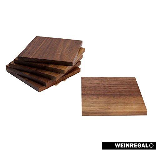 WEINREGALO Untersetzer Nussbaum | 10 x 10cm für Gläser aus Holz - 6er Set - Glasuntersetzer für Tisch und Bar -