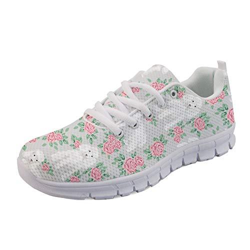 Coloranimal Go Easy Walking Flats Nettes Spielzeug Pudel Blumenstrauß Pet Design Laufende Turnschuhe Air Mesh Lace Up Flats Schuhe Schuhe EU Größe 35 - Blumensträuße Schuhe