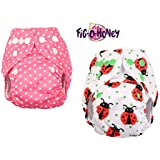 Fig-O-Honey Reusable New Born Baby Cloth Diapers | Multi-Color Baby Fabric Nappy With Free Absorbent Inserts | Washable And Elastic Printed Modern Cloth Nappies With Insert Liners | ( Ladybug & Pink Polka Dots Print Combo )