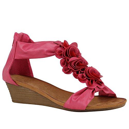 Stiefelparadies Bequeme Keilsandaletten Glitzer Sandaletten Wedges 155345 Pink Camargo 38 Flandell