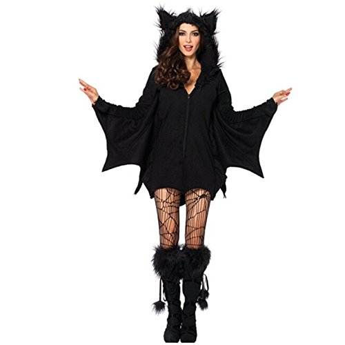 Gshy Halloween Pipistrello Nero Costume Donna Mantello per Festa Halloween Mascherata Carnevale Cosplay (XXL)