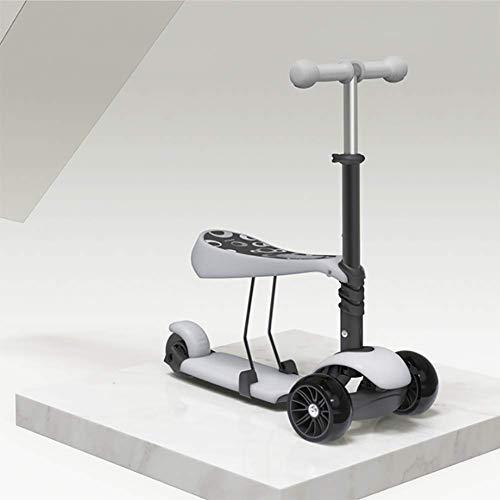 ZNDDB Kinder Laufrad - Kinderroller 3-Rad Roller Flash-Rad Für Kinder Im Alter Von 2-6,Gray