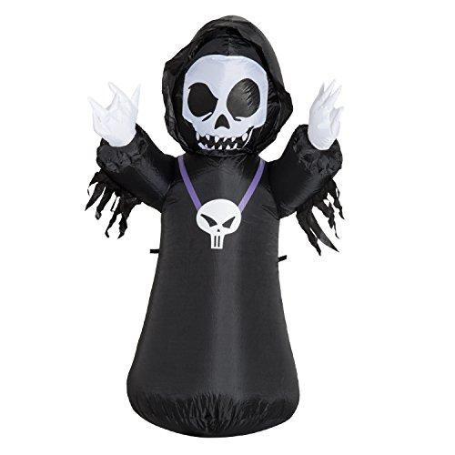 HOMCOM Halloween Aufblasbares Spukgespenst Luftfigur Aufleuchtend Deko 120/240 cm (Aufblasbares Gespenst) (Aufblasbares Halloween Gespenst)