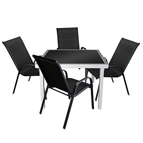5tlg. Bistrogarnitur Balkonmöbel Sitzgruppe Gartengarnitur - Glastisch, 90x90cm, Silber/Schwarz + 4x Stapelstuhl, Schwarz