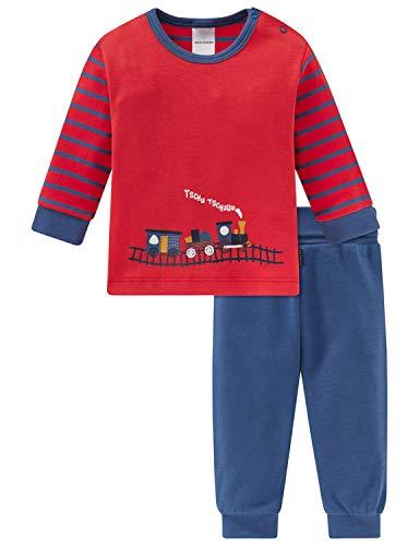 Schiesser Baby-Jungen Zug Anzug lang 2-teilig Zweiteiliger Schlafanzug, Rot (Rot 500), 92 (Herstellergröße: 092)