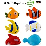 Storio Chu Chu Colorful Floating Bath Toys for Baby Aquatic Fish Animals Set of 6 Non Toxic BPA Free