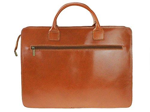"bag2basics - Damen Aktentasche ""Akte Y"" in cognac - Aktenkoffer Lehrertasche - Echtes Leder made in Italy cognac"