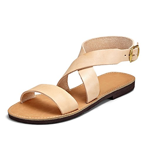 SCHMICK Sandali Donna 'Gaia' Sandali alla schiava Scarpe estive in vera pelle , Schuhgr÷?e:37 EU;Farbe:beige