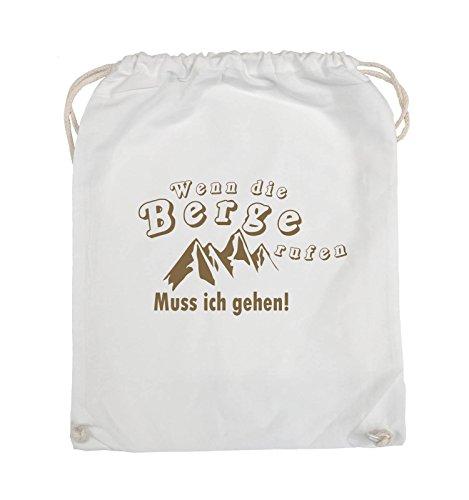 Comedy Bags - Wenn die Berge rufen - BERGE - Turnbeutel - 37x46cm - Farbe: Schwarz / Pink Weiss / Hellbraun