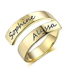 Idea Regalo - Grand Made Donna Personalizzato Twist Ring 2 Nome Open Regolabile Inciso Nome Regalo Mom Daughter Promise Anello Compleanno San Valentino Anniversario Donna Anello (Gold, Acciaio Inossidabile)
