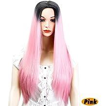 22 Recta Larga Peluca Mujer Peinados Pelucas SintéTico Resistente Al Calor
