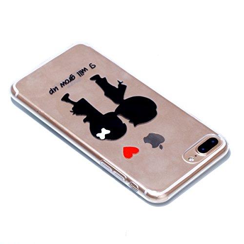 iPhone 7 Plus Coque, Voguecase TPU avec Absorption de Choc, Etui Silicone Souple Transparent, Légère / Ajustement Parfait Coque Shell Housse Cover pour Apple iPhone 7 Plus 5.5 (Papillons avec fleurs b Les jeunes amoureux 01
