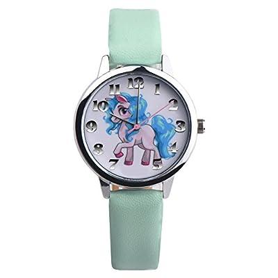 Girls Unicorn Watch,Faux Leather Band Quartz Wrist Watch Kids Xmas Gift