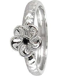 Stack Ring Co, Jupiter, Sterling Silver Flower With Round Black CZ Centre Prima Stack Ring Design