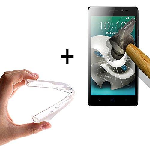 WoowCase - [ ZTE Blade A452 Schutzhülle Silikon Transparent [ +1 Schutzglas ] 9H Panzerglas Display Schutzfolie, Hülle Case TPU