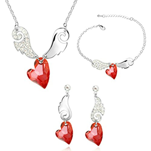 Aooaz Femmes Alliage Bijoux Parures Aile Boucles d'oreilles Bracelet Collier Mariage Rouge