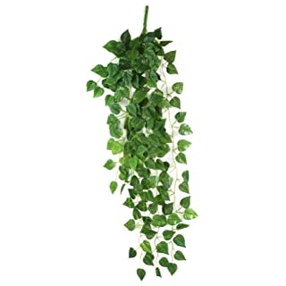 AKORD Atificial Fake Hanging Vine Plant Leaves Decoration, Fabric, Green, 90 x 40 x 10 cm