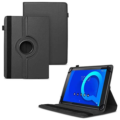 Tablet Hülle für Alcatel 1T 10 Tasche Schutzhülle Case Schutz Cover 360° Drehbar 10.1 Zoll Etui, Farbe:Schwarz