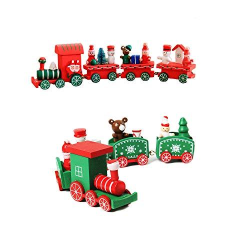 Wohlstand 2Pcs Bois de Noël Xmas Train Petit Train pour Les Enfants de Noël Décorations Festives Maternelle de décoration intérieure Cadeau