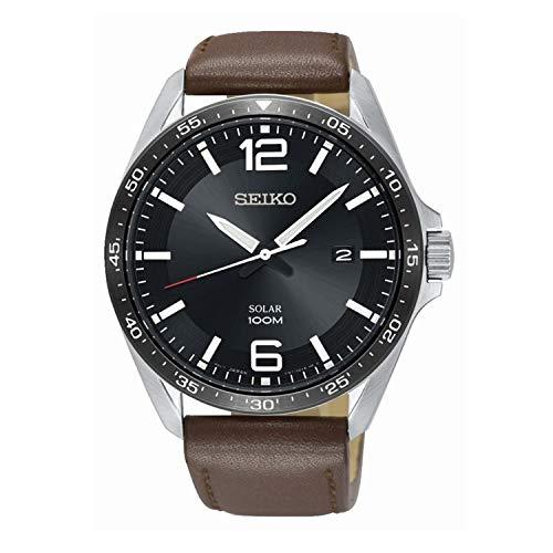 Seiko Herren Analog Solar Uhr mit Leder Armband SNE487P1 (Seiko Solar Herren-uhr)