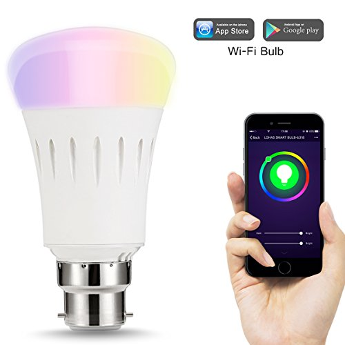 LOHAS Alexa Smart LED WiFi Bulb, A60 B22 Colour Changing Light Bulb, Works with Amazon Alexa, Google Home & IFTTT, 60W Equivalent, Emit Tuneable White Lights, Remote Controlled by a Smartphone, 1 Pack