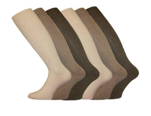 I-smalls Ltd - chaussettes Design packs de 6 hommes 100% coton côtelées longues point 39.5-44.5 - 39-45, mélange de beiges