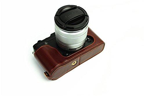 Zakao, Kameratasche / Schutzhülle für Fuji XE1, X-E1, XE2, X-E2, aus echtem Leder, halbe Öffnung unten, mit Holster und Handschlaufe
