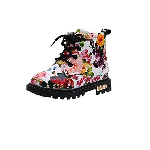 URSING Mädchen Stil Frühling Herbst Blumendruck Schuhe Lackleder Winter weich einzigartig Martin Stiefel beiläufig Reißverschluss Schnürschuh komfortabel schick Kinderschuhe 1-5,5 Jahre (23, weiß)