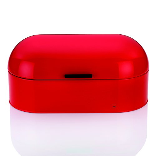 Kela 11174 Brotkasten, Glänzendes Metall, 44 x 21,5, Höhe: 22 cm, Frisco, rot