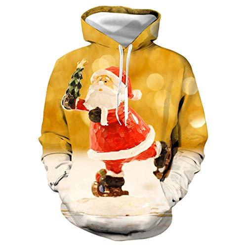 Christmas Hoodie Couple UFODB Herren Damen Mit Tasche Herbst Winter 3D Druck Kapuze Unisex Kapuzenpullover Langarm Oversize Sweatshirt Loose Fit Kapuzenjacke Sweatjacke -